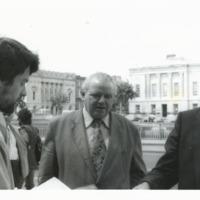 Cathal Kerrigan canvassing Michael O'Riordan at ICTU General Conference Cork 1981