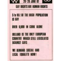 1981 Cork Gay Pride Week Poster / Leaflet