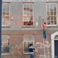 Dominic Carroll (window) Davy Nevin (ladder) Laurie Steele Co-op renovations 1982.jpg