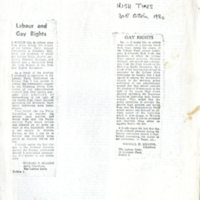 Michael D. Higgins 1980 letters re Gay Rights and Trade Union