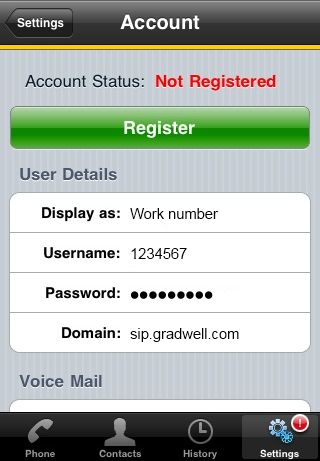 Configuring the Bria for iPhone app – Gradwell Service and Support