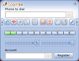 Zoiper main screen
