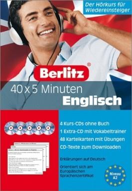 40 x 5 Minuten Englisch - Set. 5 Audio-CDs und 48 Karteikarten