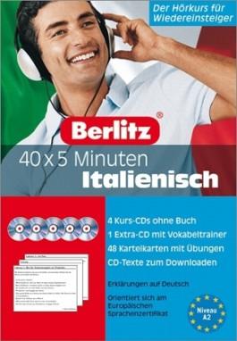 40 x 5 Minuten Italienisch - Set. 5 Audio-CDs und 48 Karteikarten