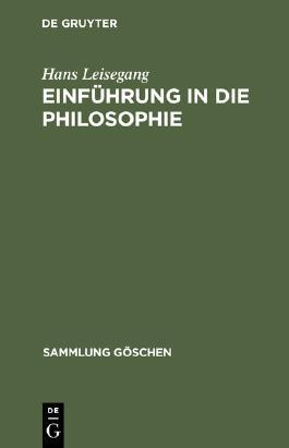 Einführung in die Philosophie. (Sammlung Göschen)