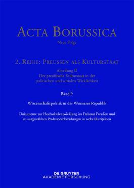 Acta Borussica - Neue Folge. Preußen als Kulturstaat. Der preußische... / Wissenschaftspolitik in der Weimarer Republik