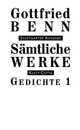 Sämtliche Werke - Stuttgarter Ausgabe / Gedichte 1