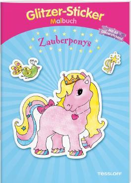 Glitzer-Sticker-Malbuch. Zauberponys