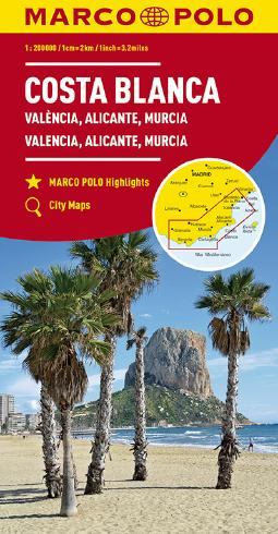 MARCO POLO Karte Costa Blanca, Valencia, Alicante, Castellón, Murcia 1:200 000