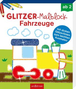 Glitzer-Malblock Fahrzeuge