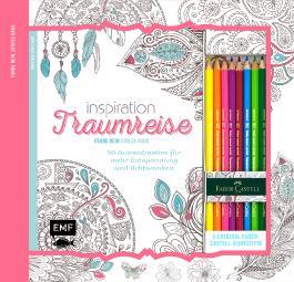 Kreativ-Set Farbe rein, Stress raus: Inspiration Traumreise: 50 Ausmalmotive für mehr Entspannung und Achtsamkeit