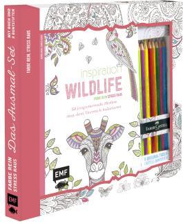 Kreativ-Set Farbe rein, Stress raus: Inspiration Wildlife - 50 inspirierende Motive aus dem Tierreich kolorien