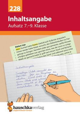 Aufsatz 7.-9. Klasse: Inhaltsangabe