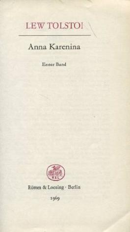 Anna Karenina Erster Band