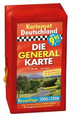 Die Generalkarte Deutschland Pocket 1:200 000 in Kartentasche, Alle 20 Blätter der Generalkarte auf 10 Doppelblättern