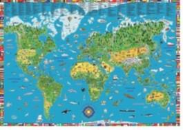 Illustrierte Weltkarte für Kinder und Erwachsene von 5-99