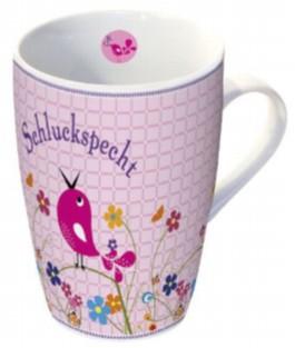"""Rosa Tasse in Geschenkbox: Motiv """"Schluckspecht"""""""