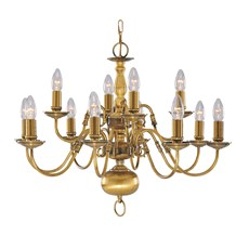 FLEMISH - 12LT CEILING, ANTIQUE BRASS