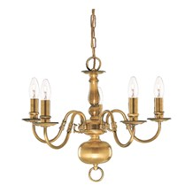 FLEMISH - 5LT CEILING, ANTIQUE BRASS