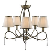 SIMPLICITY - 5LT CEILING, ANTIQUE BRASS, CLEAR GLASS, CREAM STRING SHADES