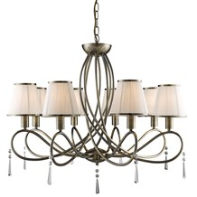 SIMPLICITY - 8LT CEILING, ANTIQUE BRASS, CLEAR GLASS, CREAM STRING SHADES