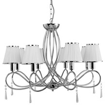 SIMPLICITY - 8LT CEILING, CHROME, CLEAR GLASS, WHITE STRING SHADES