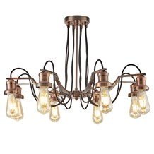 OLIVIA 8LT CEILING, BLACK BRAIDED FABRIC CABLE, ANTIQUE COPPER