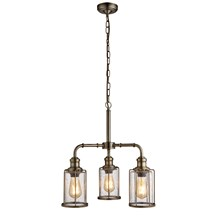 PIPES 3LT PENDANT, ANTIQUE BRASS WITH SEEDED GLASS