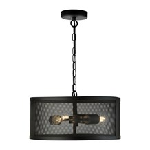 FISHNET 3LT DRUM PENDANT MATT BLACK