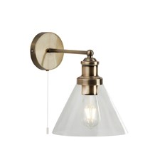 PYRAMID WALL LIGHT - AB, CLEAR GLASS SHADE