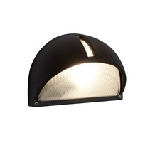LED OUTDOOR & PORCH - HALF-MOON WALL BRACKET, BLACK, FROSTED GLASS