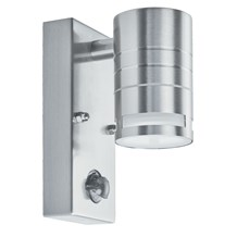 LED OUTDOOR & PORCH (GU10 LED) - 1LT PIR WALL BRACKET, STAINLESS STEEL, FROSTED