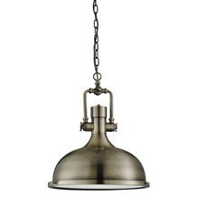 INDUSTRIAL PENDANT - 1LT PENDANT, ANTIQUE BRASS, FROSTED GLASS