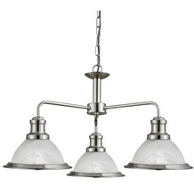 BISTRO - 3LT CEILING, SATIN SILVER, MARBLE GLASS