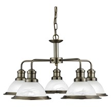 BISTRO - 5LT CEILING, ANTIQUE BRASS, MARBLE GLASS