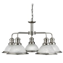 BISTRO - 5LT CEILING, SATIN SILVER, MARBLE GLASS