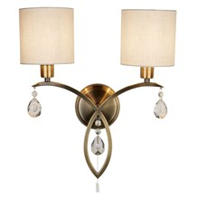 ALBERTO 2LT WALL BRACKET, ANTIQUE BRASS, LINEN SHADES