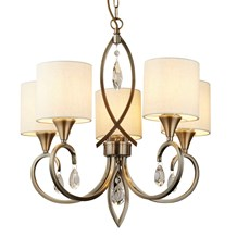 ALBERTO 5LT PENDANT, ANTIQUE BRASS, CLEAR CRYSTAL DROPS, LINEN SHADES