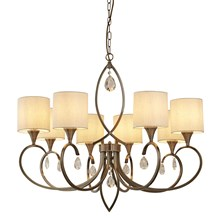 ALBERTO 8LT PENDANT, ANTIQUE BRASS, LINEN SHADES