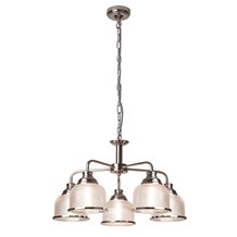 BISTRO II - 5LT CEILING, SATIN SILVER, HALOPHANE GLASS