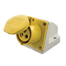 16A 110V 3Pins Ang. Socket Surface Yellow