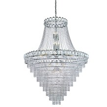 LOUIS PHILIPE CRYSTAL - 28LT TIERED CHANDELIER, CLEAR CRYSTAL DRESSING, CHROME F