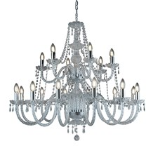 HALE - 18 LIGHT CHANDELIER, CHROME, CLEAR CRYSTAL TRIMMINGS
