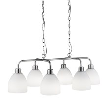CROMWELL 6LT PENDANT, SATIN SILVER WITH WHITE GLASS