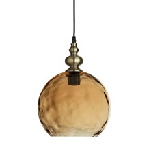 INDIANA - 1LT PENDANT, ANTIQUE BRASS, AMBER GLASS