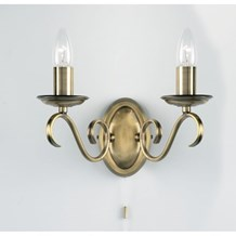 Bernice Antique Brass Pull Cord 2 Light Wall E14 Candle 60W Endon 2030-2AN