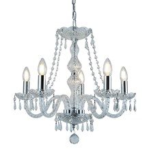 HALE - 5 LIGHT CHANDELIER, CHROME, CLEAR CRYSTAL TRIMMINGS
