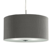 DRUM PLEAT PENDANT - 3LT PLEATED SHADE PENDANT, SILVER WITH FROSTED GLASS DIFFUS