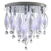 SPINDLE - REMOTE CONTROLLED  6LT FLUSH CEILING, CHROME WITH CLEAR/WHITE GLASS DE