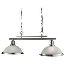 BISTRO - 2LT CEILING BAR, SATIN SILVER, MARBLE GLASS